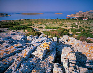Ravni Zakan Island with small harbour, Kornati National Park, Croatia, May 2009  -  Wild Wonders of Europe / Popp-Hackner