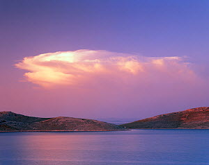 Storm cloud over Kornat Island, Kornati National Park, Croatia, May 2009  -  Wild Wonders of Europe / Popp-Hackner