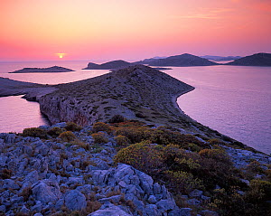 View from Mana Island at sunset, Kornati National Park, Croatia, May 2009  -  Wild Wonders of Europe / Popp-Ha