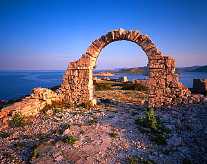 Ruins created for a film and left behind, Mana Island, Kornati National Park, Croatia, May 2009  -  Wild Wonders of Europe / Popp-Hackner