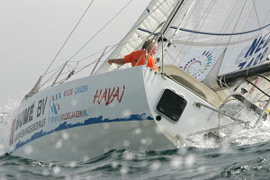 """69 year old Dutch solo sailor Nico Budel on his Open 40 yacht """"Hayia"""" at the start of the Portimao Global Ocean Race, Portugal, October 2008. ^^^This was the inaugural round the world race for Class 4... - Ingrid Abery"""