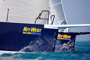 The bows of two TP52s soon after the race start, Key West Race Week, Florida, January 2010. - Richard Langdon