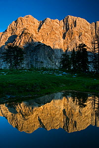 Mount Velika Mojstrovka (2,056m) with reflection in a pool of water, Sleme, Triglav National Park, Julian Alps, Slovenia, July 2009 - Wild Wonders of Europe / Zupanc