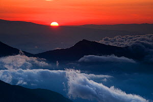 Sunrise in the Julian Alps viewed from Mount Kriz, Triglav National Park, Slovenia, July 2009  -  Wild Wonders of Europe / Zupanc
