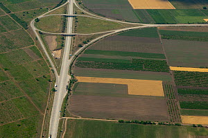 Aerial view of a road junction near the capital, Chisinau, Moldova, July 2009  -  Wild Wonders of Europe / Geslin