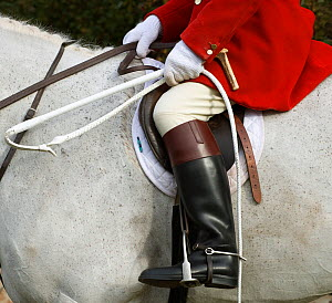 Close-up of the tradional hunting attire at the opening meet of the Quorn Hunt, in Leicestershire, England, UK. October 2009 - Kristel Richard