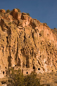 Ancestral Pueblo dwellings at Bandelier National Monument, Frijoles Canyon, near Santa Fe, New Mexico.�2009. - Steven Kazlowski
