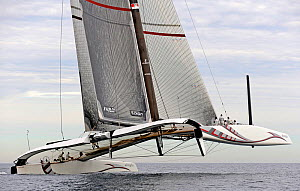 "90ft catamaran ""Alinghi 5"" training prior to the first race of the 33rd America's Cup, Valencia, Spain. February 2010. ^^^A Deed of Gift race between defender Ernesto Bertarelli's ""Alinghi"", and chall...  -  Rick Tomlinson"