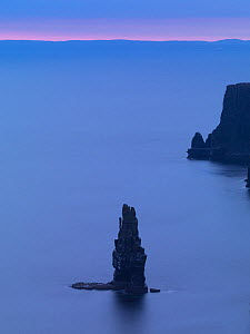 Sea stack off the Cliffs of Moher at dusk, County Clare, Ireland, June 2009 - Wild Wonders of Europe / Hermans