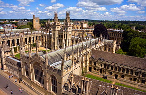 All Souls College, viewed from St Mary Radcliffe / St Mary the Virgin Church, Oxford, UK. June 2009.  -  Merryn Thomas