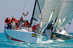 """Farr 40 """"Vincere"""" after rounding the mark during racing at Miami Grand Prix, Florida, USA. March 2010.  -  Rick Tomlinson"""