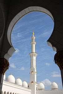 Looking out through arch of Sheikh Zayed Bin Sultan Al Nahyan Mosque, Abu Dhabi, UAE, November 2008  -  Hanne & Jens Eriksen