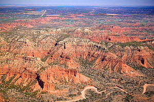 Aerial view of red shales, sandstones, siltstones and mudstones landscape, Caprock Canyons State Park, Briscoe County, Texas, USA  -  Doug Wechsler