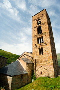Tower of the Church of the nativity, Durro. Romanesque church from XII century, and UNESCO world heritage, in the Bo� Valley, Pyrenees, Lleida, Catalonia, Spain. July 2009 - Inaki Relanzon