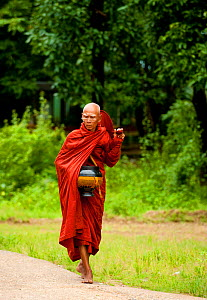Buddhist monk collecting money and food, Bago, Myanmar, (formerly Burma).  August 2009  -  Inaki Relanzon