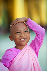 Portrait of a young Buddhist girl nun wearing pink robes in Bago, Myanmar / Burma.  August 2009 - Inaki Relanzon