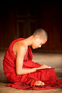 Young Buddhist monk sitting cross legged and writing in a notebook, buddhist monastery, Inle Lake, Shan State, Myanmar, Burma. August 2009  -  Inaki Relanzon