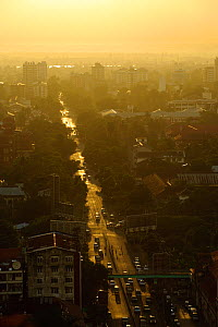 Aerial view of the streets of Yangon, Rangun, Myanmar, Burma. September 2009  -  Inaki Relanzon