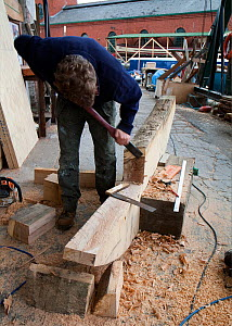 Boat-builder using chisel to shape part of wooden stem that will form the upright at the bow of a new wooden pilot cutter sailing boat being constructed at Bristol's Underfall Yard. England, UK, Oct 2...  -  Toby Roxburgh