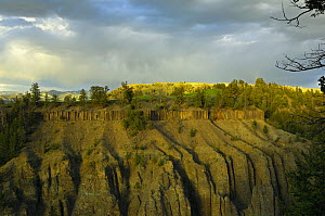 Calcite Overlook, formed by the Yellowstone River, after a thunderstorm at sunset, Yellowstone National Park, Wyoming, USA, June 2008  -  George Sanker