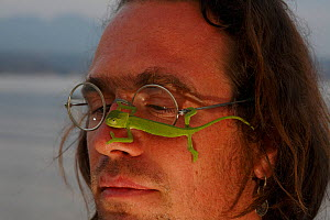 Photographer, Christian Ziegler, with a juvenile African chameleon (Chamaeleo africanus) on his face, Southern Peloponnes, Greece, May 2009 WWE BOOK. WWE EXHIBITION. - Wild Wonders of Europe / Ziegler