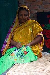 Woman embroidering cloth, part of a craft scheme to alleviate rural poverty, Ganges delta, Bangladesh, October 2008 - David Woodfall