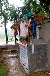 Woman collecting water from pump at clean water project initiated by NGO, Uttaran, Ganges delta, Bangladesh, November 2008  -  David Woodfall