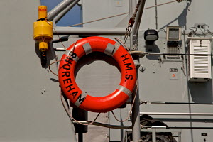 """Lifebelt of minesweeper """"HMS Shoreham"""". Liverpool, England, April 2010. All non-editorial uses must be cleared individually. - Norma Brazendale"""