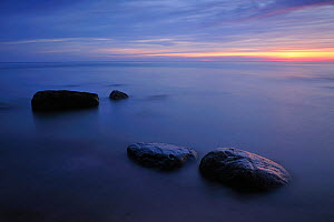 Baltic sea with rocks in shallow water, Latvia, June 2009  -  Wild Wonders of Europe / López
