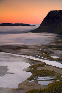 Aerial view of the Laitaure delta at dawn, Sarek National Park, Laponia World Heritage Site, Lapland, Sweden, September 2008  -  Wild Wonders of Europe / Cairns