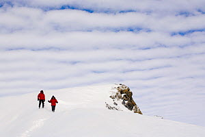 People walking down a snow slope to Windy Ridge, with altocumulus undulatus clouds above them. Patriot Hills. West Antarctica, January 2006. - Bryan and Cherry Alexander