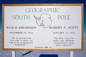 Sign at the Geographical South Pole. Antarctica, January 2006.  -  Bryan and Cherry Alexander