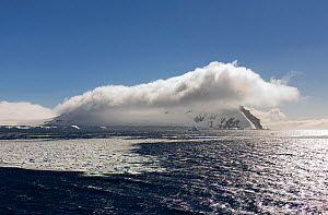 High winds and clouds over the Tabarin Peninsula, seen from the Erebus and Terror Gulf, Weddell Sea, Antarctica, October 2006.  -  Bryan and Cherry Alexander