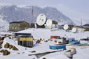 Satellite dishes bringing TV, phones and the internet to the Inuit community of Pangnirtung. Nunavut, Canada, April 2008. - Bryan and Cherry Alexander
