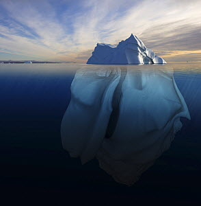 Melting iceberg showing the portion underwater that is sculpted by the sea. Polar regions. Digitally created image composite  -  Bryan and Cherry Alexander