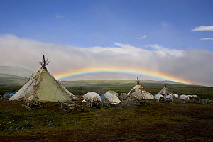 Rainbow over Khanty reindeer herders' camp in the Polar Ural Mountains. Yamal, Western Siberia, Russia, Summer 2007. - Bryan and Cherry Alexander