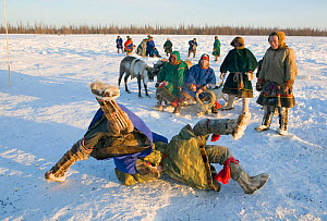Two Nenets men competing in a wrestling competition at a reindeer herders festival in the Yamal. Western Siberia, Russia, February 2009.  -  Bryan and Cherry Alexander