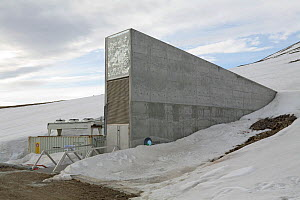Svalbard Global Seed Vault popularly known as the Doomsday Vault, used for storing crop seeds deep inside a mountain. Longyearbyen. Svalbard, June 2008. - Bryan and Cherry Alexander