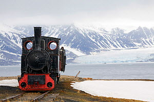 Old mining train in Ny Alesund. It is the most northerly train in the world, but now has nowhere to go. Spitsbergen, Svalbard, Norway, June 2008.  -  Bryan and Cherry Alexander