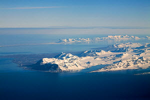 Aerial view of the south of Oscar II Land seen from above the Isfjorden. Prins Karls Forland behind. Spitsbergen, Svalbard, Norway, June 2008.  -  Bryan and Cherry Alexander