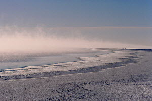 At -40 degrees Celsius frost smoke rising off the freezing sea at the floe edge near Igloolik, Nunavut, Canada, 1990. - Bryan and Cherry Alexander