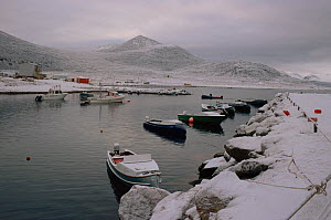 Boats in the harbour at Qikiqtarjuaq (Broughton Island) off the east coast of Baffin Island. Nunavut, Canada, 2002. - Bryan and Cherry Alexander