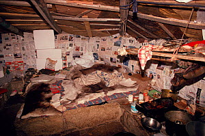 Interior of traditional Inuit turf house, Igloolik, Nunavut, Canada, 1993. - Bryan and Cherry Alexander