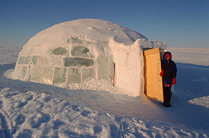 Qaggiq (large communal feasting igloo) made from blocks of ice at Igloolik. Nunavut, Canada, 1999. - Bryan and Cherry Alexander