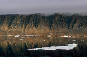 Dramatically eroded cliffs reflected in the waters of Hall Basin. Ellesmere Island, Nunavut, Canada.  -  Bryan and Cherry Alexander