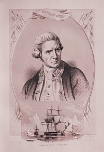 Portrait of Captain James Cook (1728-1779), explorer of the world and its oceans.  -  Bryan and Cherry Alexander