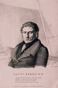 Portrait of Sir (William) Edward Parry, 1790-1855, who led several expeditions in search of the Northwest Passage. In 1827 he led expedition further North than any previous, and was knighted in 1828.  -  Bryan and Cherry Alexander