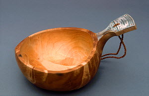 Sami Pahkakuppi, birch wood bowl with decorated handle, used for milking Reindeer, Finland.  -  Bryan and Cherry Alexander