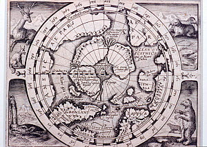 Map of Arctic Ocean showing mountain at the North Pole. Cartographer Petrus Bertius. c.1616.  -  Bryan and Cherry Alexander