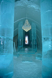 Main hall in the Ice Hotel with chandelier and ice table. Jukkasjarvi, Sweden, 2003.  -  Bryan and Cherry Alexander